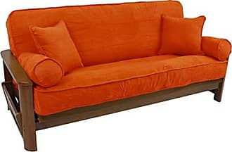 Blazing Needles Solid Microsuede Double Corded 8 to 9 Futon Cover Set with 4 Throw Pillows (Set of 5), Full, Tangerine Dream