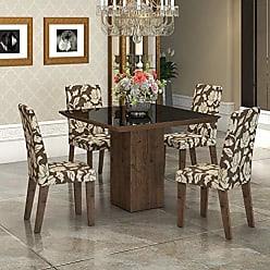 Viero Conjunto Sala de Jantar Mesa com Tampo de Vidro Lótus 4 Cadeiras Vênus Viero Grigio/Coffee