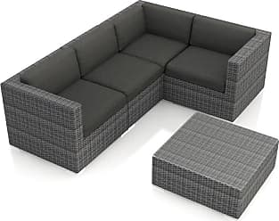 Harmonia Living Outdoor Harmonia Living District Wicker 5 Piece Sectional Patio Conversation Set Spectrum Indigo - HL-DIS-TS-5SEC-IN