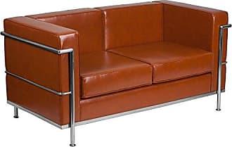 Flash Furniture HERCULES Regal Series Contemporary Cognac Leather Loveseat with Encasing Frame