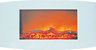 Cambridge Silversmiths CAM35WMEF-2WHT Callisto 35 In. Wall-Mount Electric Fireplace with White Curved Panel and Realistic Log Display