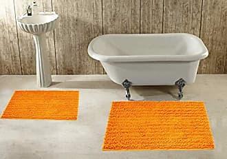 Ben&Jonah Ben & Jonah Splash Collection by Ben&Jonah 2 Piece Plush Chenille (17 x 24 and 20 x 32) -Orange Bath Rug Set