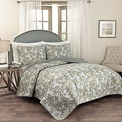 Ellery Homestyles Traditions by Waverly 15279BEDDKNGSPA Tulip Toile 104-Inch by 90-Inch 3-Piece King Quilt Collection, Spa