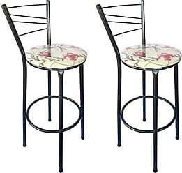 Itagold Kit 2 Banquetas Ravena Tubo Preto Craqueado com Assento Floral Clássico Vermelho - ItaGold
