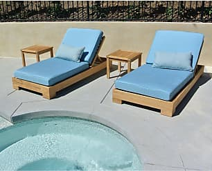 Willow Creek Designs Pacific Teak 4 Piece Outdoor Chaise Lounge with Sunbrella Cushion Canvas Heather Beige - WC-19-5422