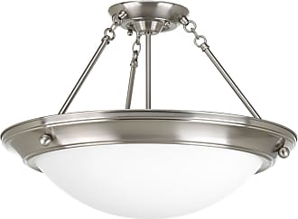 PROGRESS Eclipse Brushed Nickel 3-Lt. close-to-ceiling with Satin white glass bowl