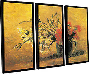 ArtWall 3 Piece Vincent Vangoghs Vase with Red and White Carnation On A Yellow Background Floater Framed Canvas Artwork, 36 x 54