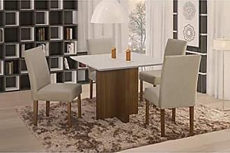 Siena Móveis Conjunto Sala de Jantar em Madeira Maciça Mesa Pérola 4 Cadeiras Lara Siena Móveis Castanho/Suede 35