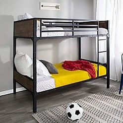 Walker Edison WE Furniture AZTOTRMWM Twin Rustic Wood Bunk Bed-Brown