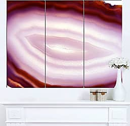 DESIGN ART Designart Pink Agate Geode Geological Crystals - Large Abstract Glossy Metal Wall Art, 28 H x 36 W x 1 D 3P