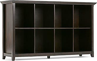 Simpli Home Simpli Home AXCAMH-005 Amherst Solid Wood 57 inch wide Transitional 8 Cube Bookcase Storage Sofa Table in Dark Brown