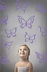 The Decal Guru Butterfly Wall Art Vinyl Stickers DIY Nursery or Girls Room Decor Peel and Stick Butterflies Decals (Lavender, 55x58 inches)