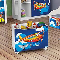 J&A Moveis Caixa Organizadora Brinquedos de Criança Aviao Cor Branca