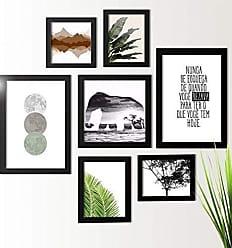 Los Quadros Kit de Quadros Decorativos 7 Peças Selva Folhagem Los Quadros Preto