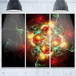 DESIGN ART Designart MT9323-3P Fractal Yellow N Red Flower Floral Metal Wall Art (3 Panels), 28 H x 36 W x 1 D 3P