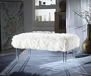 Iconic Home FBH2649-AN Trento Modern Contemporary Faux Fur Acrylic Leg Bench, White
