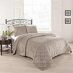 Ellery Homestyles Beautyrest 15798BEDDQUELTP Collette 90-inch by 86-Inch 3-Piece Queen Coverlet Set, Light Taupe