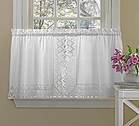 Ben&Jonah Ben & Jonah Simple Elegance by Ben&Jonah Polycotton Embroidered Kitchen Curtain Tier Pair (70 W x 36 L), White