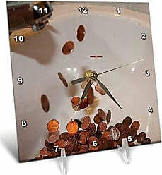 3D Rose 3dRose dc_50515_1 A White Porcelain Kitchen Sink with Copper Pennies That Appear to be Coming Out of The Faucet-Desk Clock, 6 by 6-Inch