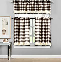 Duck River Textile Queenston Country Plaid Gingham Checkered Kitchen Tier & Valance Set | Small Window Curtain for Cafe, Bath, Laundry, Bedroom - (Brown)