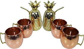 Oakland Living 6 Piece Copper Moscow Mule and Brass Pineapple Shaker Set with Straws - ZMUG-HAM-SMOOTH-PINE-6-CO-GD
