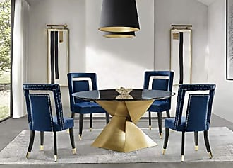 Iconic Home FDC9501-AN Elsie Dining Side Chair Velvet Upholstered Nailhead Trim Seat Espresso Finished Gold Tip Tapered Wood Legs Modern Transitional (Set of 2), Navy