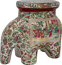 Oriental Furniture 14 Rose Medallion Porcelain Elephant Stool
