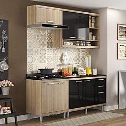 Multimóveis Cozinha Completa com Balcão com Tampo 5 Peças 7 Portas Sicília Multimóveis Argila/Preto