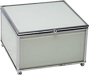 Benzara Stylish Decorative Wood and Glass Storage, White Wooden Box, 6 x 6 x 3.75