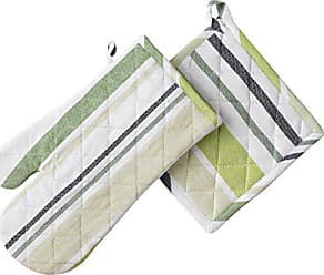 LinenTablecloth Green Barcode-Striped Oven Mitt/Pot Holder, 4-Pack