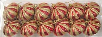 Queens of Christmas WL-ONION-G-12PK-RE Red & Gold 2.75 in. Onion Ornament (Pack of 12)