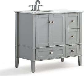 Simpli Home Chelsea 36 inch Left Offset Bath Vanity in Warm Grey with White Engineered Quartz Marble Top