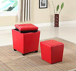 Round Hill Furniture 2-in-1 Storage Ottoman with Stool, Bloody Red