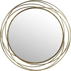 Privilege Gold Iron-framed Round Wall Mirror