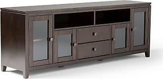 Simpli Home Cosmopolitan Solid Wood 72 Wide TV Media Stand in Coffee Brown