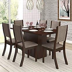 Viero Conjunto Sala de Jantar Mesa e 6 Cadeiras Cereja Viero Choco/Canela