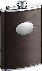 Visol Products Visol Devlin Leatherette Groomsmen Flask, 8-Ounce, Brown