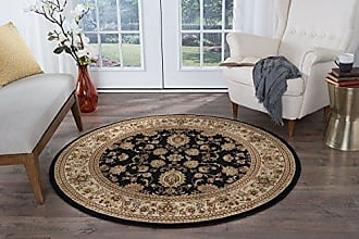 Tayse Universal Rugs Gabrielle Traditional Oriental Black Round Area Rug, 6 Round