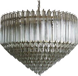 VENINI Modern Quadriedri Murano Glass Chandelier, 265 Trasparent Prism, Gold Frame