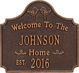 Whitehall Cast Aluminum Personalized Love Birds House Plaque