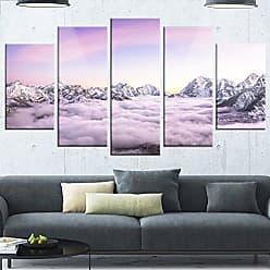 DESIGN ART Designart MT14697-373 Clouds Sunrise AMA Dablam - Landscape Canvas Metal Wall Art,White,60x32