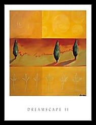 Buyartforless Buyartforless Framed Dreamscape II by Liz Rider 19x22 Art Print Poster Abstract Painting Colorful Shapes Green Orange Spirals Trees