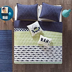 Urban Habitat Finn Full/Queen Bedding Sets Boys Quilt Set - Green, Navy, Shark Stripe - 5 Piece Kids Quilt For Boys - 100% Cotton Quilt Sets Coverlet