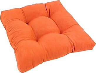 Blazing Needles Microsuede Square Tufted Dining Chair Cushion, 19, Tangerine Dream