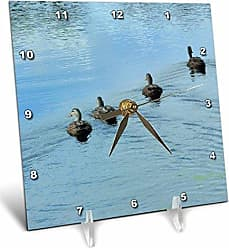 3D Rose dc_31124_1 Get Your Ducks in a Row-Desk Clock, 6 by 6-Inch
