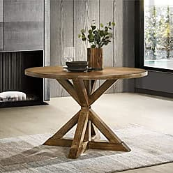 Round Hill Furniture T303 Windvale Cross-Buck Base Dining Table, Brown
