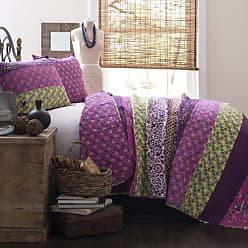 Lush Décor Royal Empire Quilt Striped Pattern Reversible 3 Piece Bedding Set, Full Queen, Plum