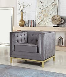 Iconic Home Dafna Accent Club Chair Sleek Elegant Tufted Velvet Plush Cushion Brass Finished Stainless Steel Brushed Metal Frame, Modern Contemporary, Grey