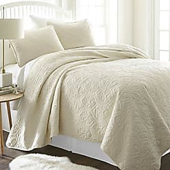 iEnjoy Home ienjy Home Damask Patterned Quilted Coverlet Set, King, Ivory