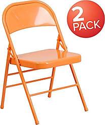 Flash Furniture 2 Pk. HERCULES COLORBURST Series Orange Marmalade Triple Braced & Double Hinged Metal Folding Chair